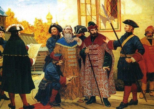 Указом Петра сбривали бороду абсолютно всем неподчинившимся