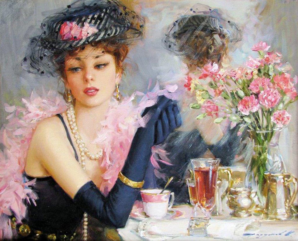 Женские портреты с цветами