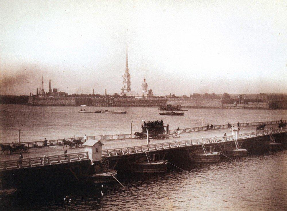 Троицкий мост и панорама Невы..1880-е