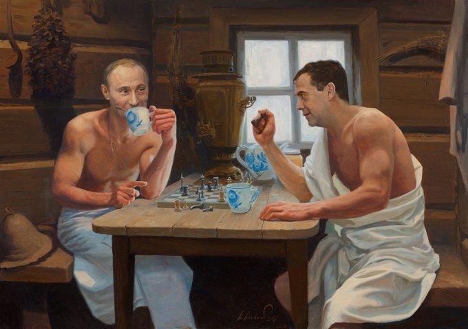 Путин в бане