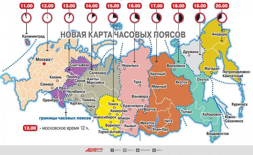 карта часовых поясов россии 2015