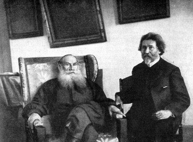 Л.Н.Толстой и И.Е.Репин в Ясной поляне, .