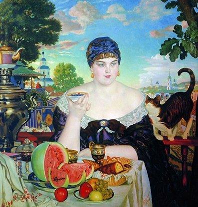 Борис Кустодиев. «Купчиха за чаем». 1918
