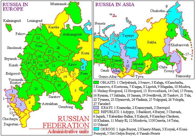 карта россии, европейская и азиатская карта