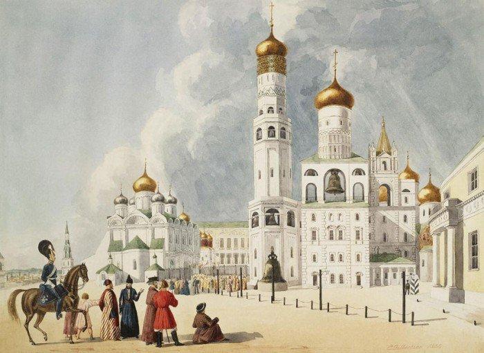 E. Gilbertson. Колокольня «Иван Великий» и Архангельский собор. 1838 г.