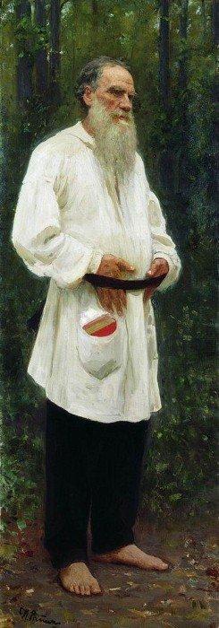 Илья Ефимович Репин: Л. Н. Толстой босой. 1901