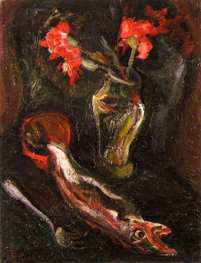 Хаим Сутин «Цветы и рыба»