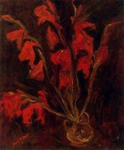 Хаим Сутин. Красные гладиолусы. 1910 год