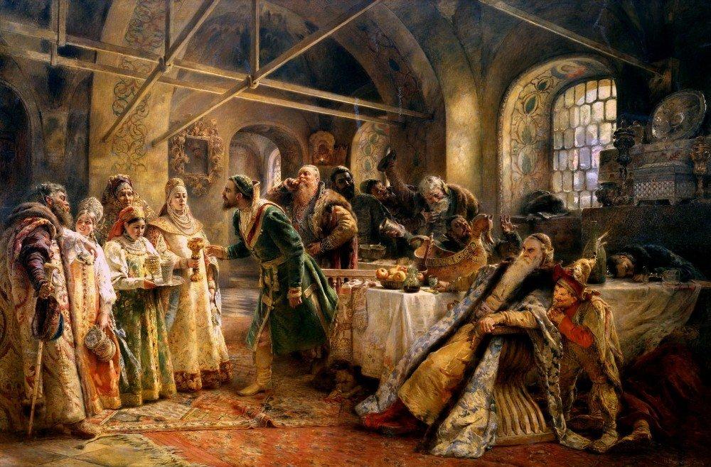 makovskij-konstantin-egorovich-1839-1915-potselujnyj-obryad-pir-u-boyarina-morozova-7