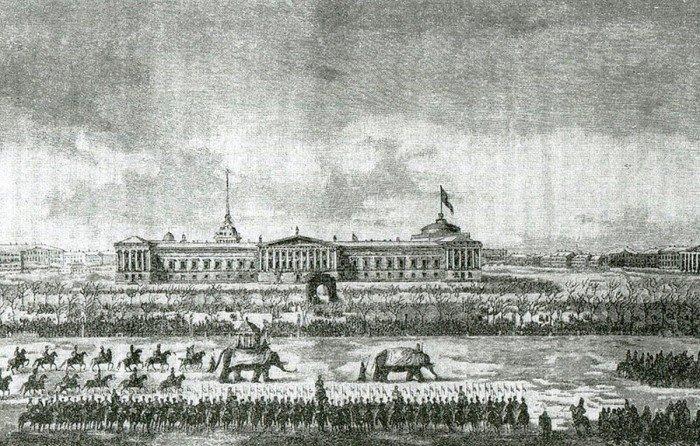 Vid-Admiraltejstva-i-Dvortsovoj-ploshhadi-vo-vremya-shestviya-slonov-prislannyh-persidskim-shahom