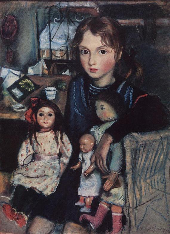 zinaida-serebryakova-katya-s-kuklami-1923-g