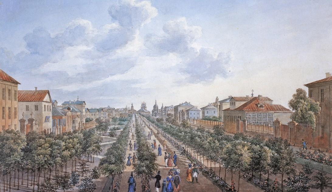 Tverskoj-bulvar.-Vid-v-storonu-Strastnoj-ploshhadi.-1827-god.-Hud.-O.-Kadol