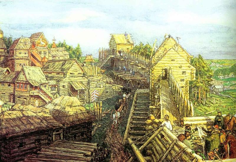 Stroitelstvo-derevyannyh-sten-Kremlya.-XII-vek.-1903