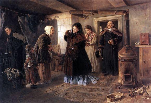 Картина «Посещение бедных» 1874 год. Константин Маковский