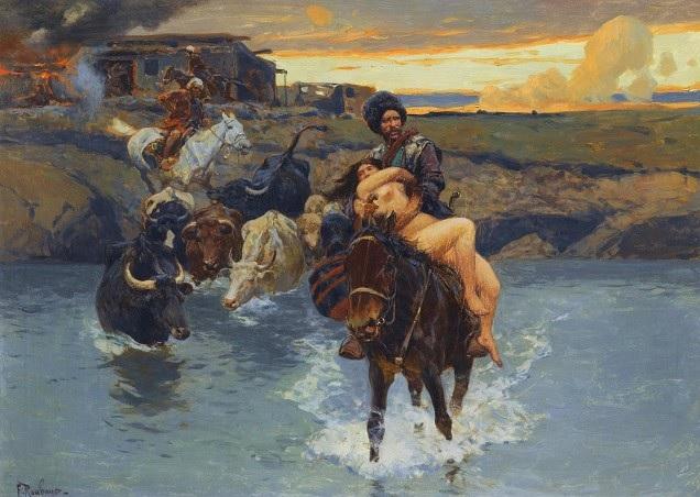 «Набег горцев на казачий хутор». Франц Рубо
