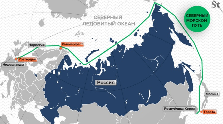 Карта нового Северного морского пути