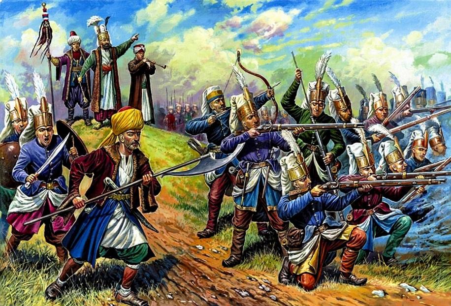 Турецкие янычары во время боя