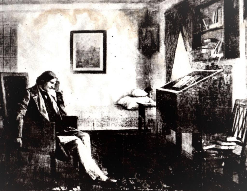 Н. В. Гоголь за работой