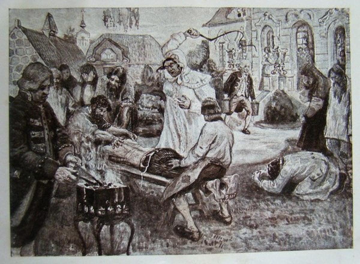 Иллюстрация работы В. Н. Курдюмова к энциклопедическому изданию «Великая реформа», на которой изображены истязания Салтычихи «по возможности в мягких тонах».