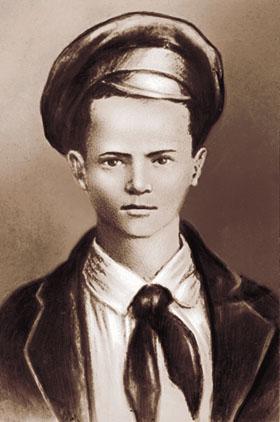 Портрет Павлика Морозова, созданный на основе единственной известной его фотографии